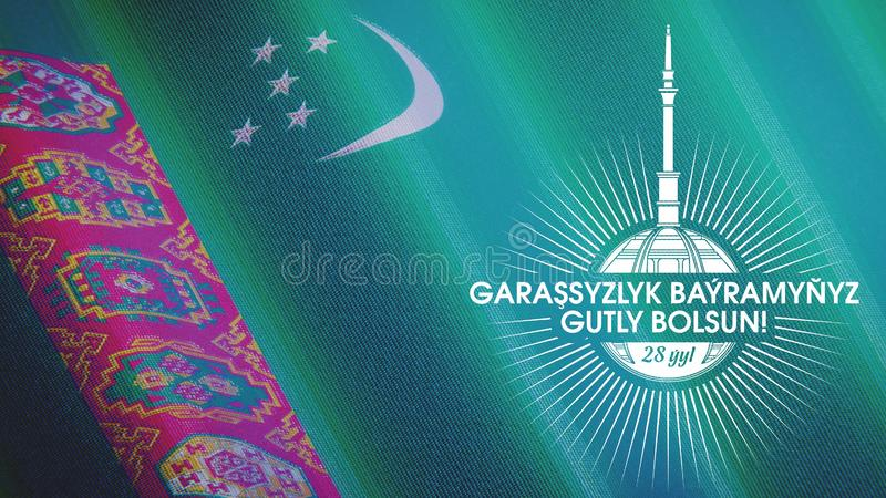 Poster, banner on the `Independence Day of Turkmenistan`. Against the background of the flag of the country. Specially designed logo on the monument of ` stock photography