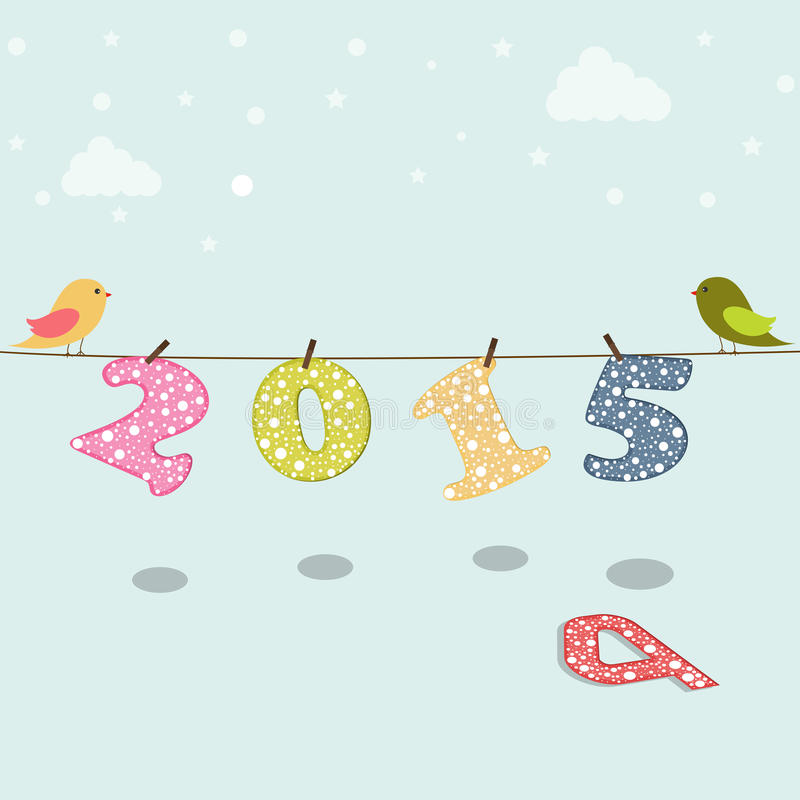 Poster or banner for New Year 2015. Stylish poster for Happy New Year 2015 with cute birds on sky blue background royalty free illustration