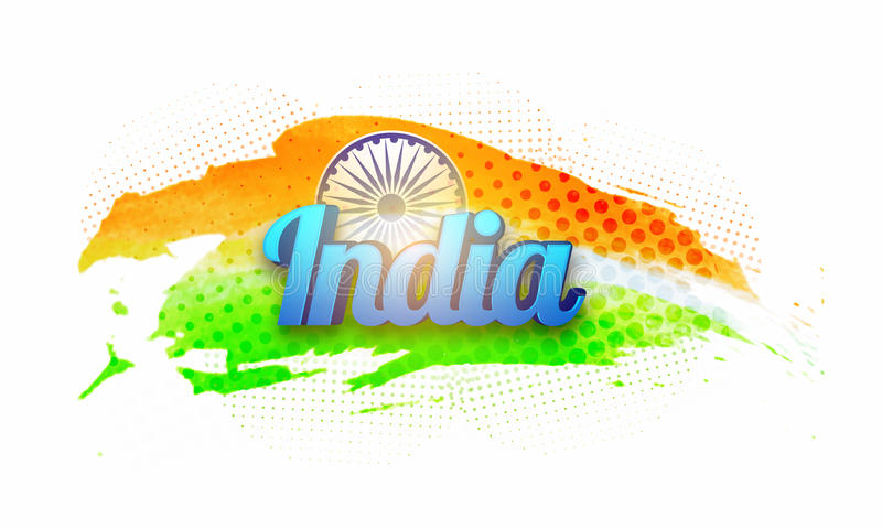 Poster, Banner for Republic Day celebration. 3D Blue Text India on National Flag Colors background for Indian Republic Day celebration vector illustration