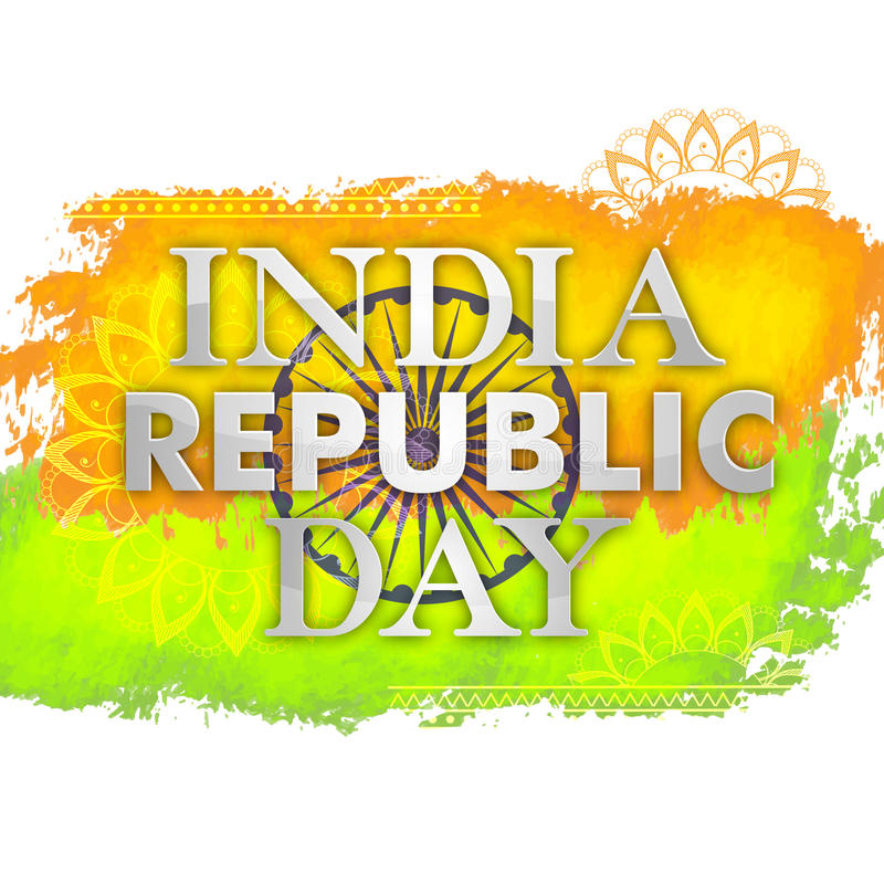 Poster, Banner for Republic Day celebration. Glossy Text India Republic Day on National Flag Colors background, Creative Poster, Banner or Flyer design stock illustration