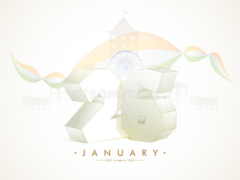 Poster, Banner for Republic Day celebration. Indian Republic Day celebration Poster, Banner design with Creative 3D Text 26 January stock illustration
