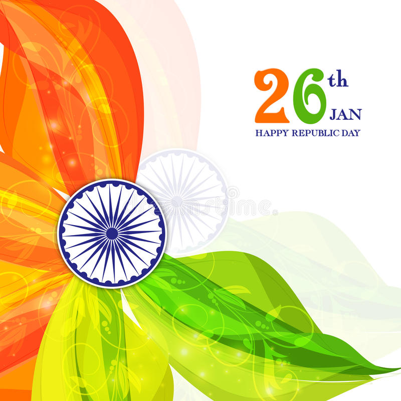 Poster, Banner for Republic Day celebration. Indian Flag Colors abstract floral background with Ashoka Wheel. Elegant Poster, Banner design for Republic Day royalty free illustration