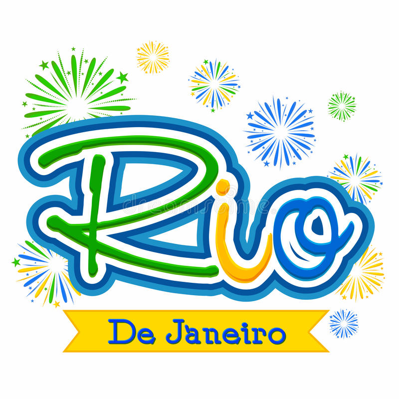 Poster, Banner with Text Rio de Janeiro. Creative Brazilian Flag Colors Text Rio De Janeiro on fireworks background, Can be used as Poster, Banner or Flyer vector illustration