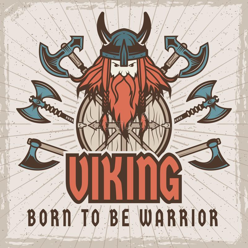 Poster with barbarian warrior with weapons. Template with place for your text. Barbarian and warrior, viking medieval in helmet. Vector illustration vector illustration