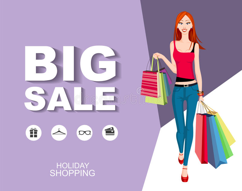Download Poster Big Sale With Icons. Shopping Model. Stock Vector - Image: 83712441