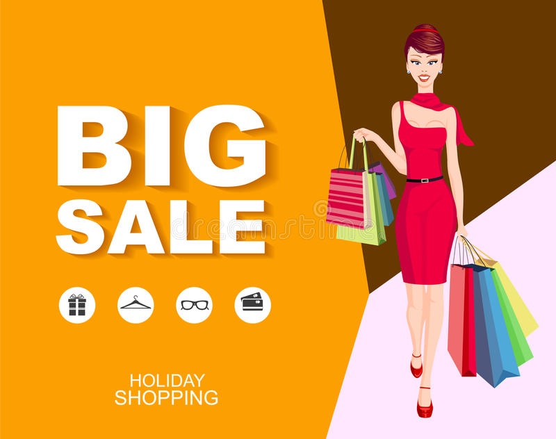 Download Poster Big Sale With Icons. Shopping Woman Model. Stock Vector - Image: 83711355