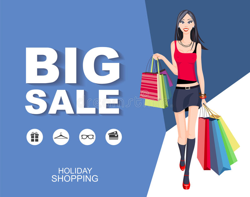 Download Poster Big Sale With Icons. Shopping Wonan Model. Stock Vector - Illustration of luggage, people: 83712378