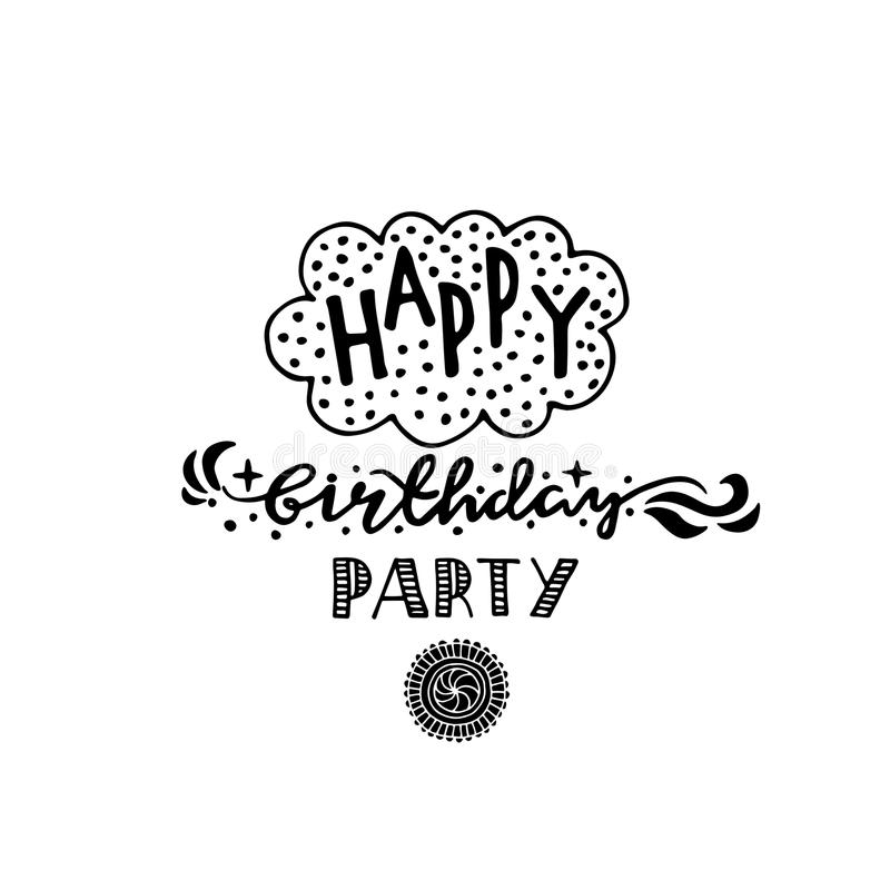 Poster for the birthday greetings. Hands painted birthday gifts vector illustration