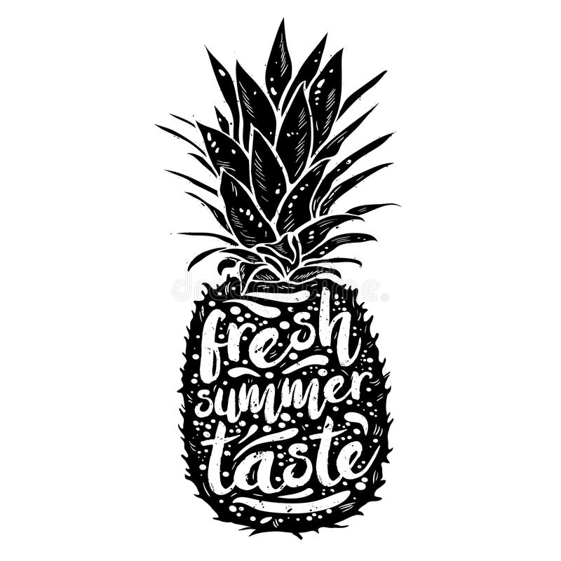 Poster with black silhouette of a pineapple, tagline fresh summer taste, grunge texture. Print t-shirt, graphic element stock illustration