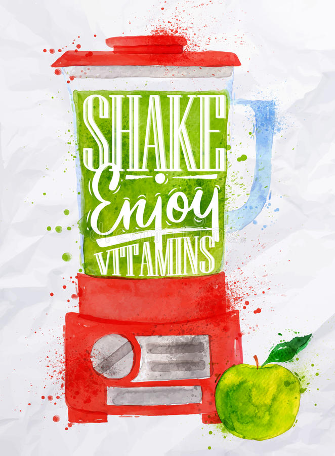 Poster blender shake. Poster with red blender with lettering shake enjoy vitamins watercolor painted on crumpled paper royalty free illustration