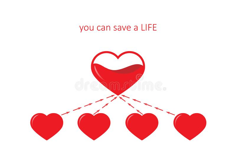 Poster for blood donation, five hearts isolated on the white background. square vector royalty free illustration