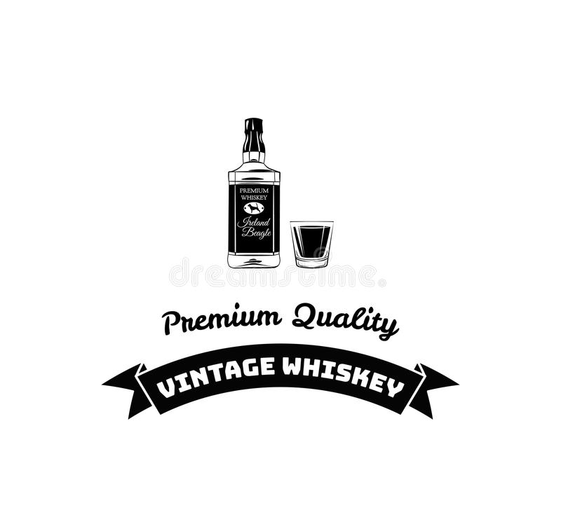 Poster bottle of alcohol with hand drawn lettering. Monochrome vintage drawing for drink menu or t-shirt print. vector illustration