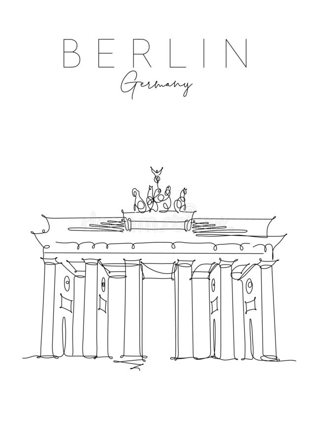Poster Brandenburg Gate. Lettering berlin, germany drawing in pen line style on white background stock illustration