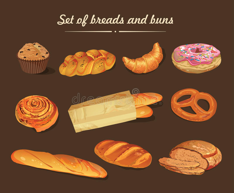 Poster with bread, baton, french baguette, bun, baton and pretzel. Vintage style. Poster for bistros, restaurants, cafes, bars, menus with image of bread and stock illustration
