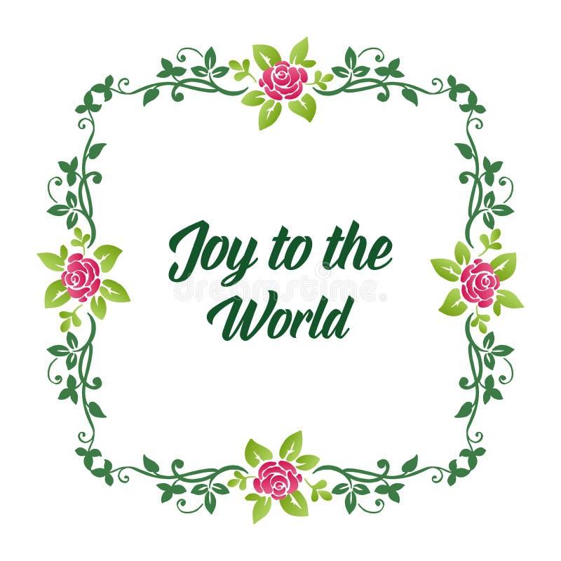 Poster-brev glädje till världen, med dekorationselement av rosa blomstbildrutor och gröna blad Vector stock illustrationer