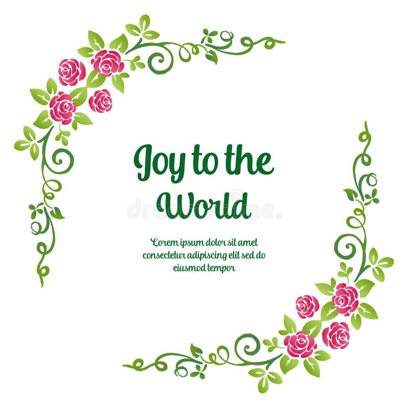 Poster-brev glädje till världen, med dekorationselement av rosa blomstbildrutor och gröna blad Vector vektor illustrationer