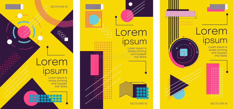 POSTER_18_Brochure memphis style vector illustration