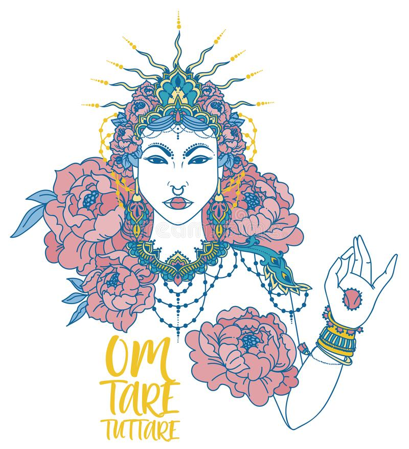 poster with buddhist mantra `om tare tuttare` and beautiful female goddess vector illustration