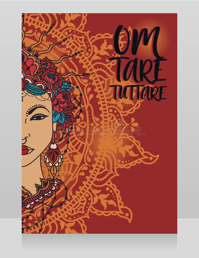 Poster with buddhist mantra `om tare tuttare` and beautiful female goddess Tara. Can be used for asian holidays or for yoga and ayurveda studio, vector stock illustration