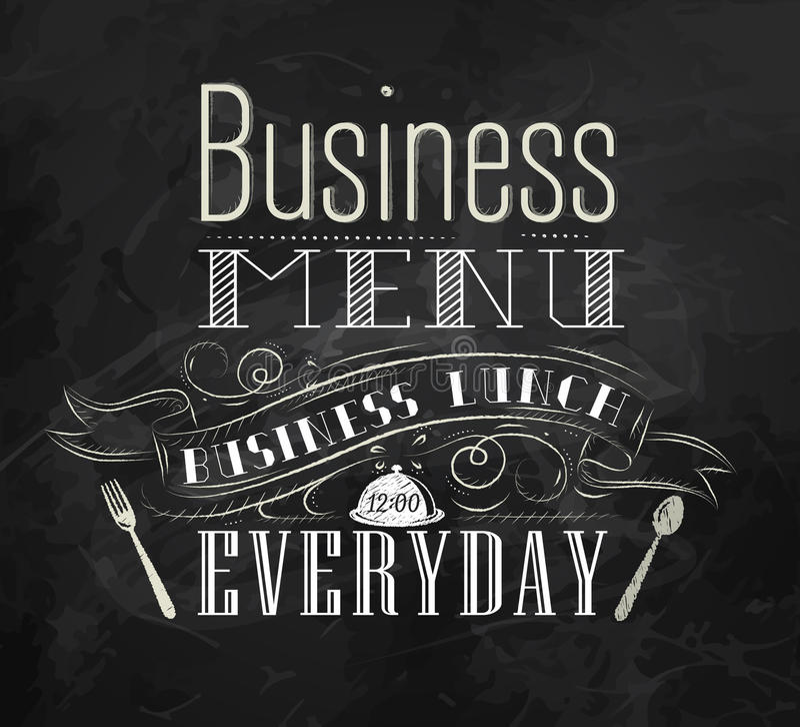 Poster Business menu. Chalk. stock illustration