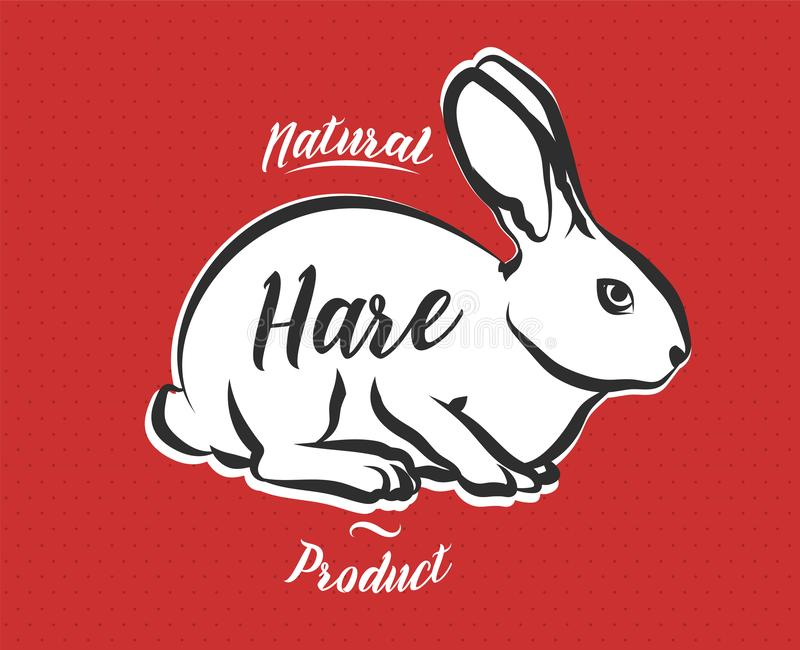 Poster for Butchery meat shop with hare. Rabbit vintage logo in retro style. Poster for Butchery meat shop with hare. Farm animal banner with rabbit silhouette vector illustration