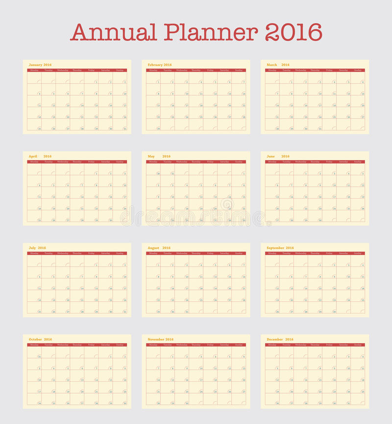 Poster Calendar For 2016 Annual Planner For Year 2016 Stock