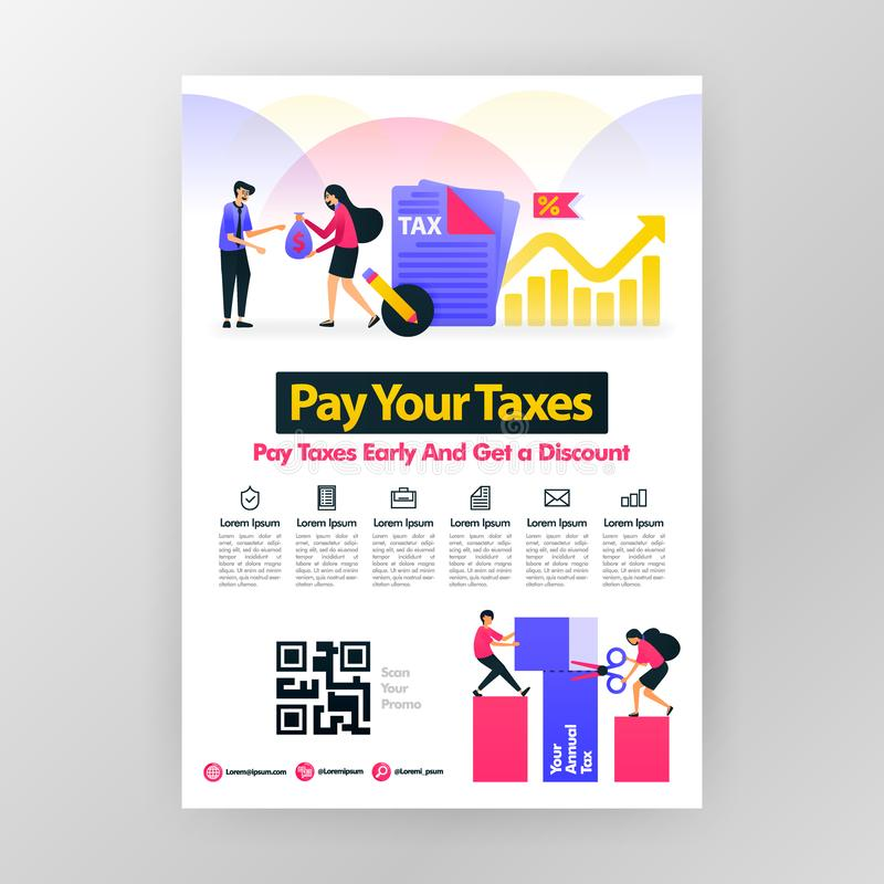 Poster calling for annual tax payment, pay taxes on time and get discounts with vector flat cartoon illustration. flayer business. Pamphlet brochure magazine stock illustration