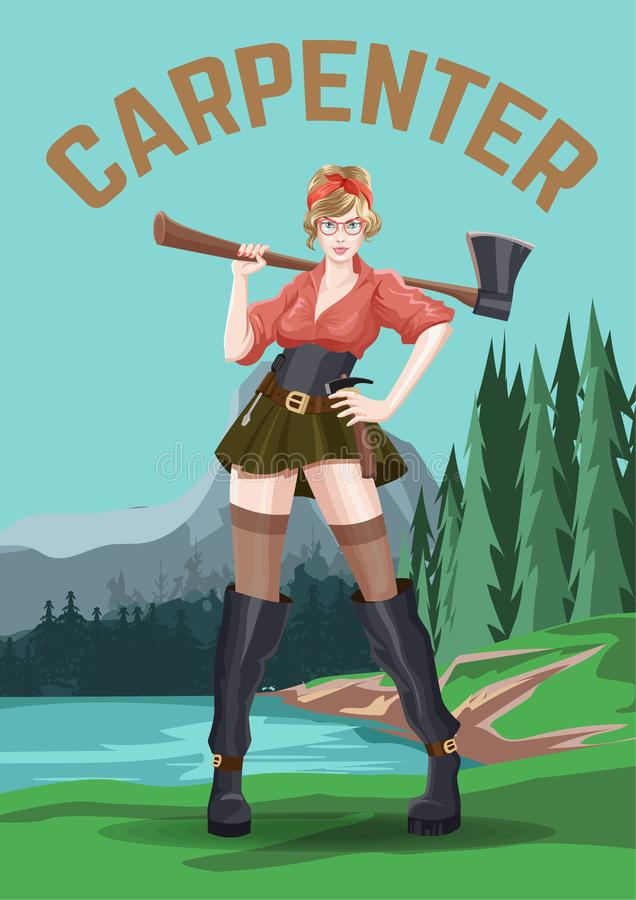 poster Carpinteiro 'sexy' novo da menina com o machado na saia curto Fundo da floresta dos suportes Ilustra??o do vetor foto de stock