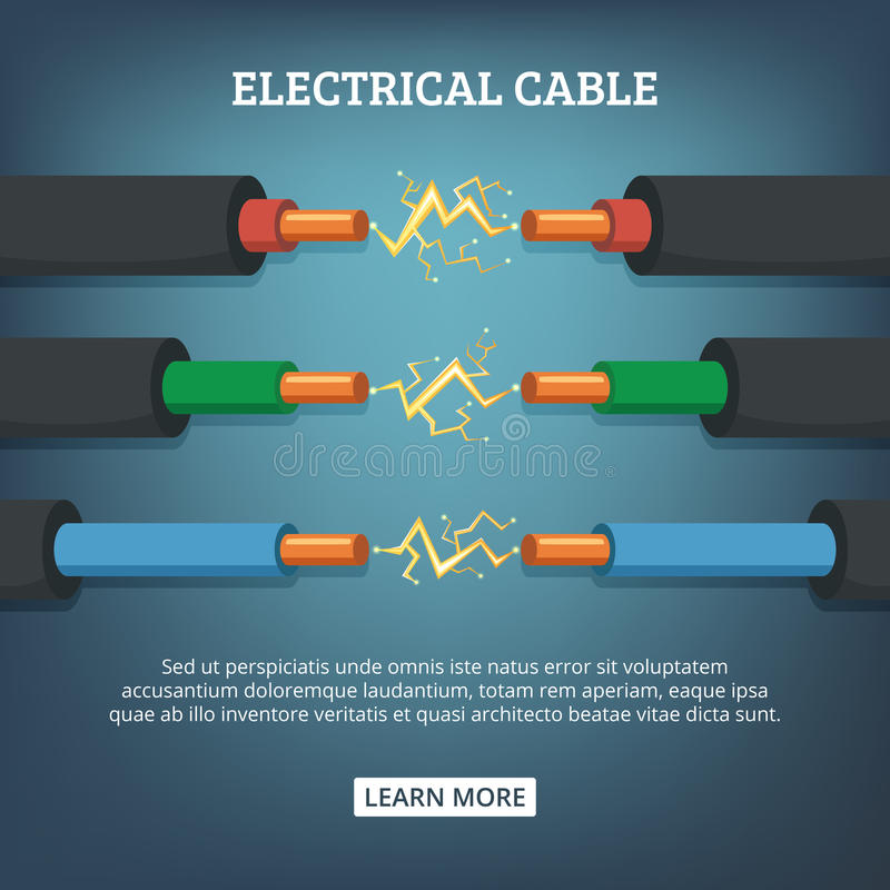 Poster with cartoon illustration of electrical cable wires with different amperage. Vector background concept royalty free illustration