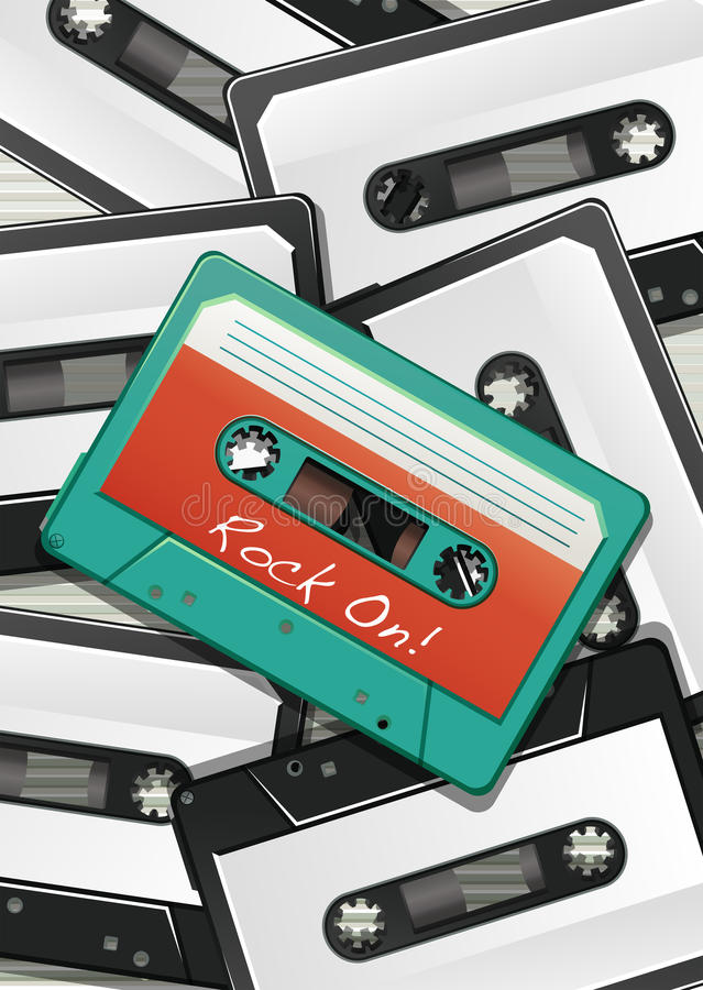 Poster. Of cassettes lying on top of each other stock illustration
