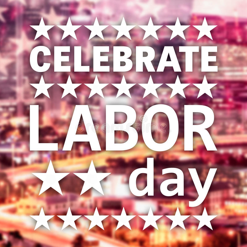 Poster of celebrate labor day text. Over white background vector illustration