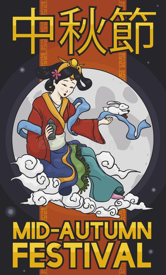 Chang`e or Moon Goddess with Jade Rabbit for Mid-Autumn Festival, Vector Illustration. Poster with Chang`e, the moon goddess and the Jade Rabbit over a full moon vector illustration
