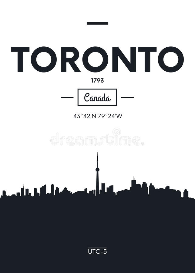 Poster city skyline Toronto, Flat style vector illustration stock illustration