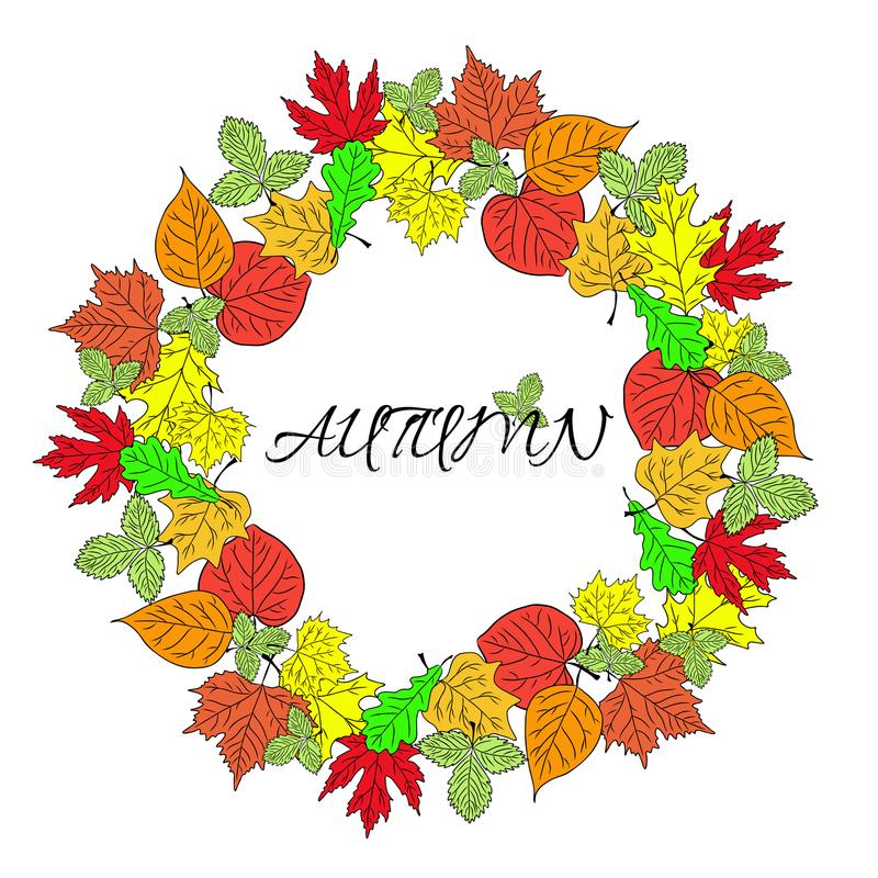 Poster with colourful autumn leaves and inscription Autumn vector stock illustration
