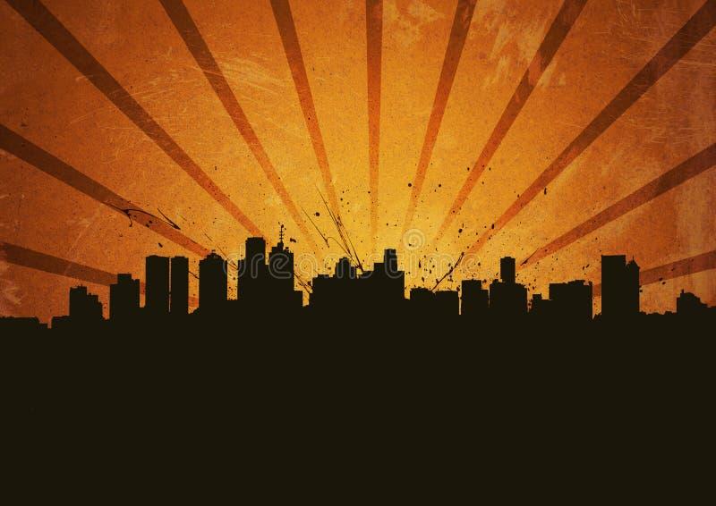 Poster com cidade do grunge ilustração royalty free