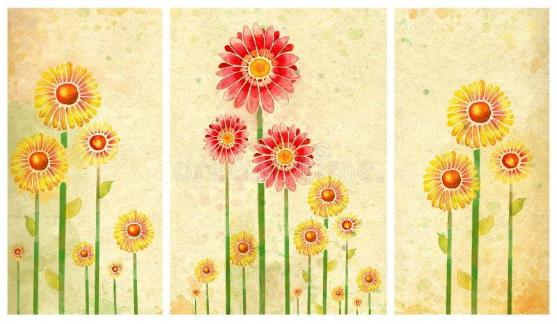 Poster Com Flores Da Aguarela Ilustração Stock - Ilustração de ...