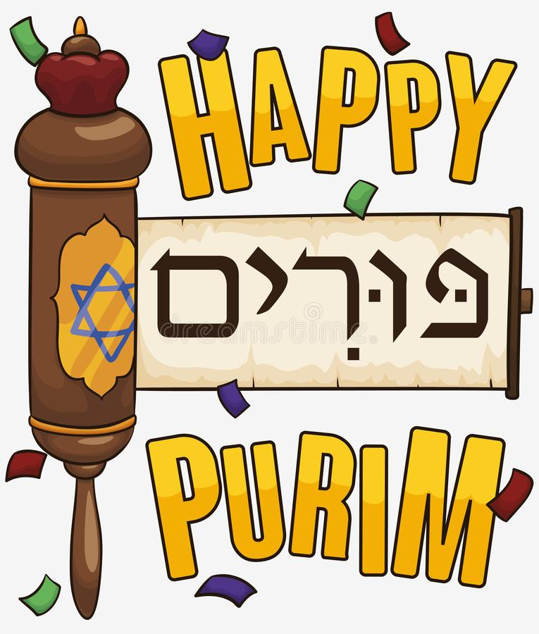 Jewish Scroll of Esther under Confetti to Celebrate Purim, Vector Illustration. Poster with confetti shower and a decorated Scroll -or Megillah- of Esther to stock illustration