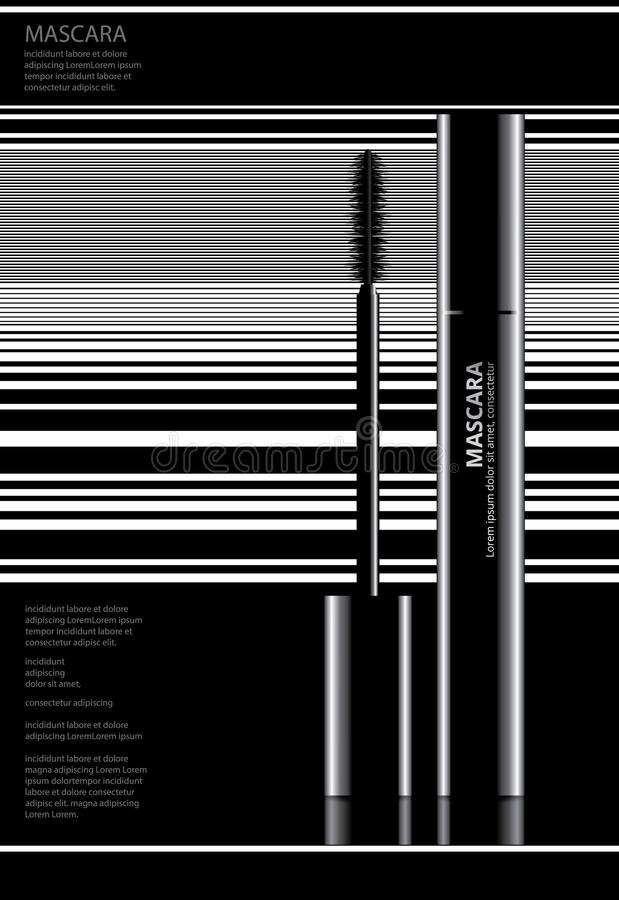 Poster Cosmetic Mascara with Packaging. Vector Illustration stock illustration