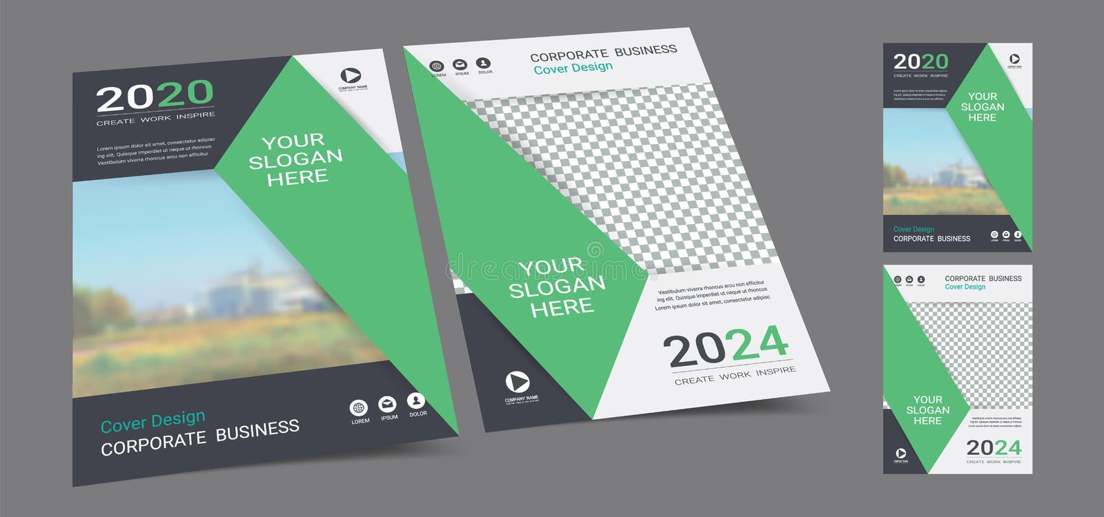 Poster cover book design template in A4 layout with space for photo background. stock photos