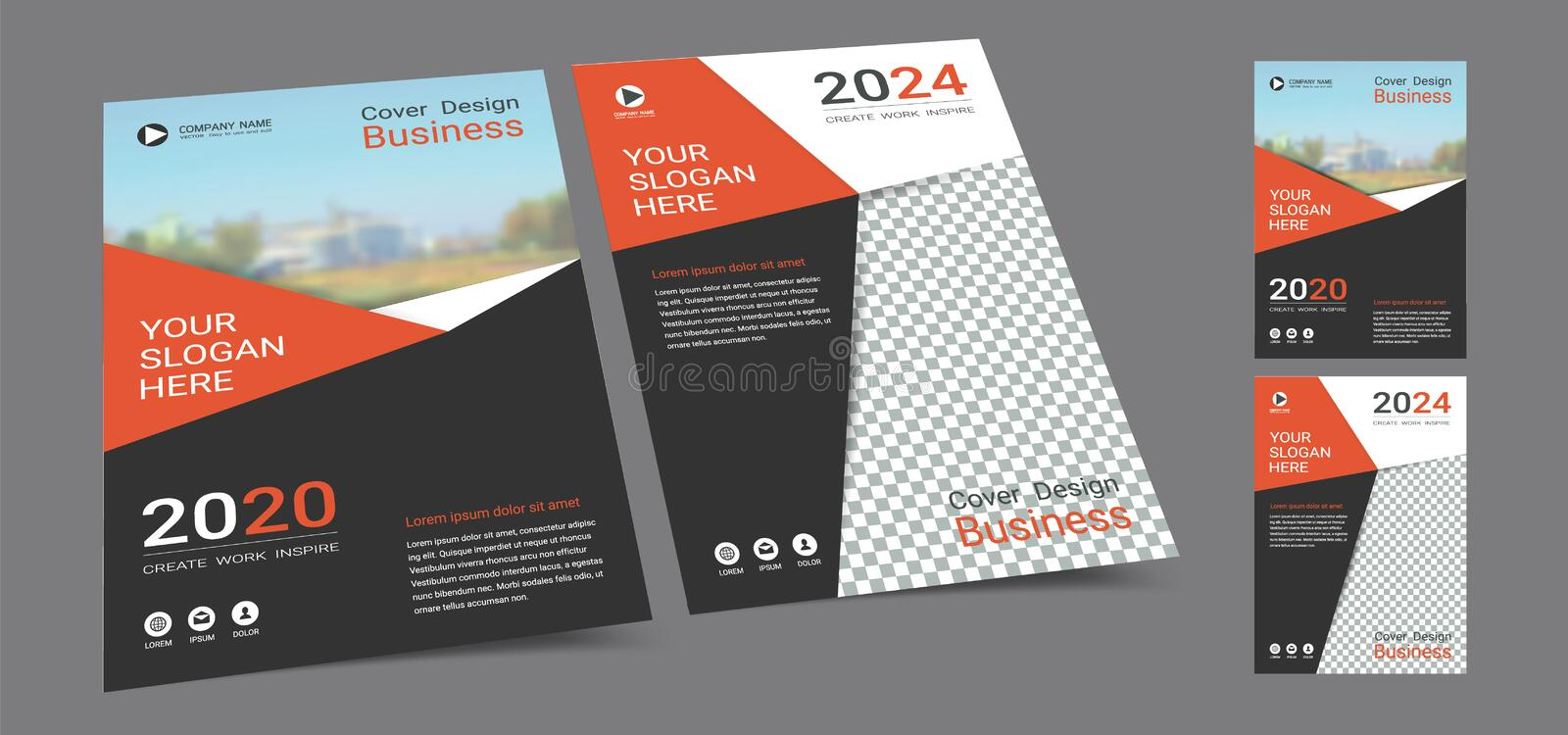 Poster cover book design template in A4 layout with space for photo background. royalty free stock images