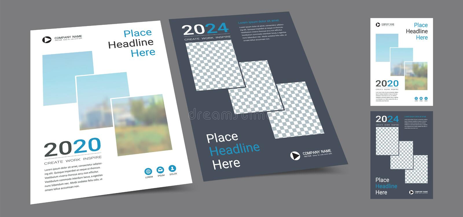 Poster cover book design template in A4 layout with space for photo background. stock images