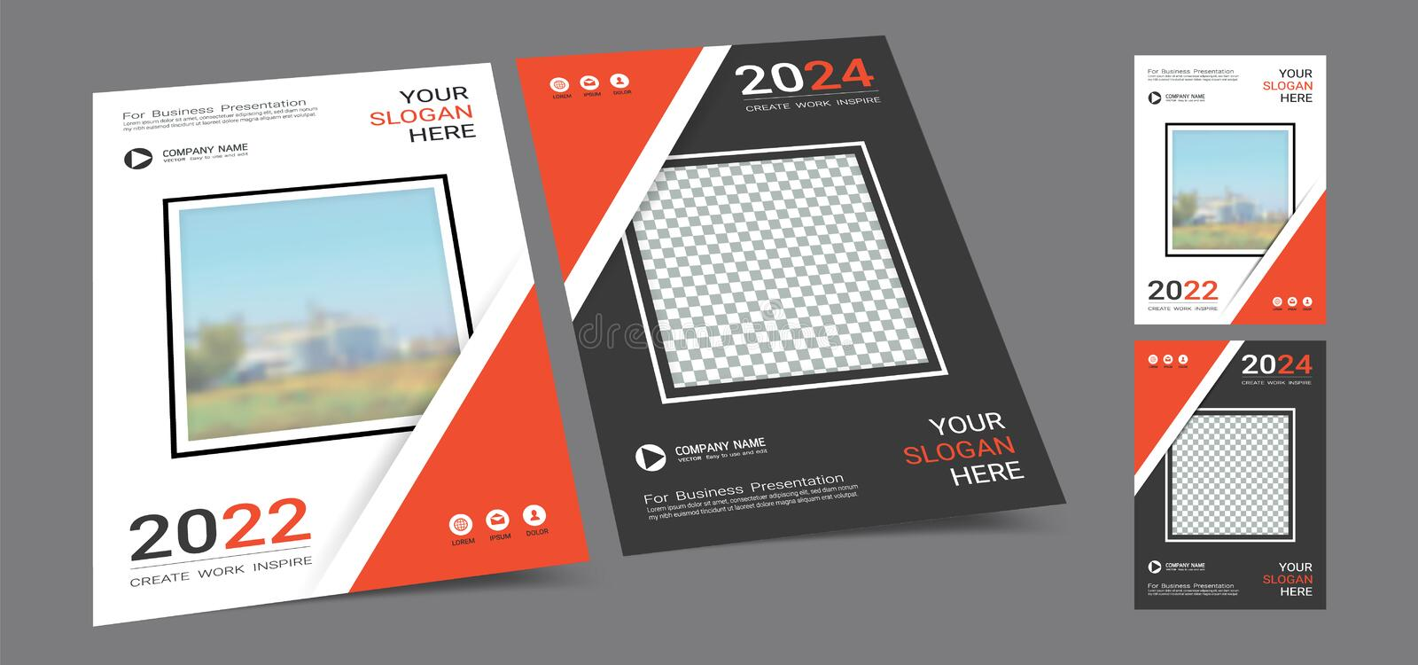 Poster cover book design template in A4 layout with space for photo background. stock image