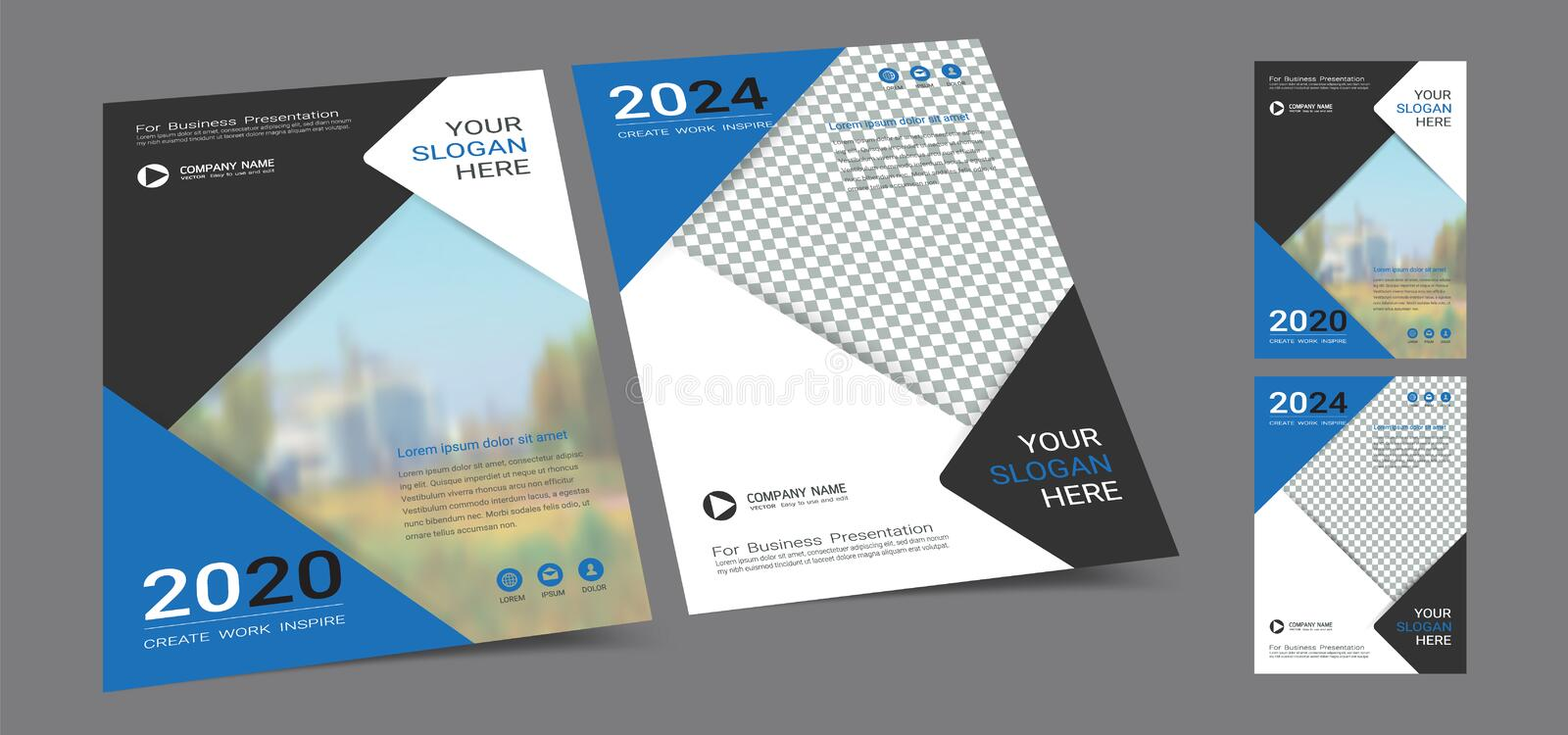 Poster cover book design template in A4 layout with space for photo background. royalty free stock image