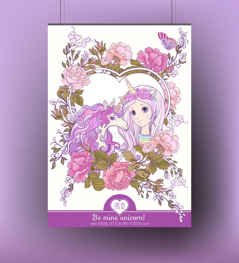 Poster with cute girl and unicorn with multi-colored curly mane stock illustration