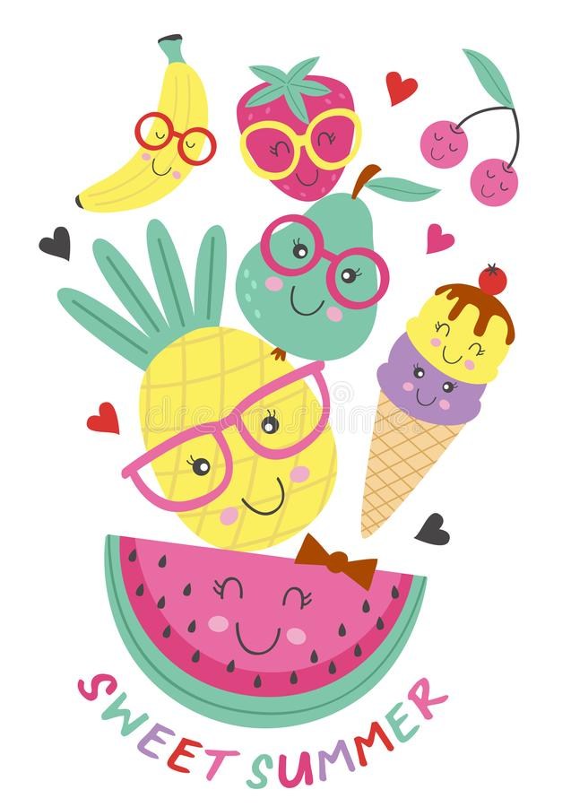 Poster with cute ice cream and fruits vector illustration