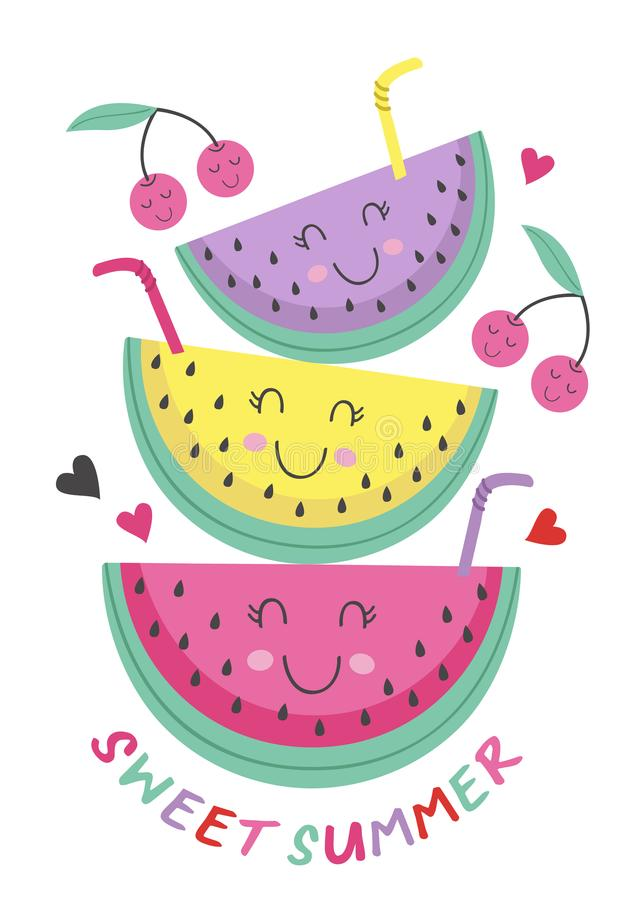 Poster with cute watermelon vector illustration