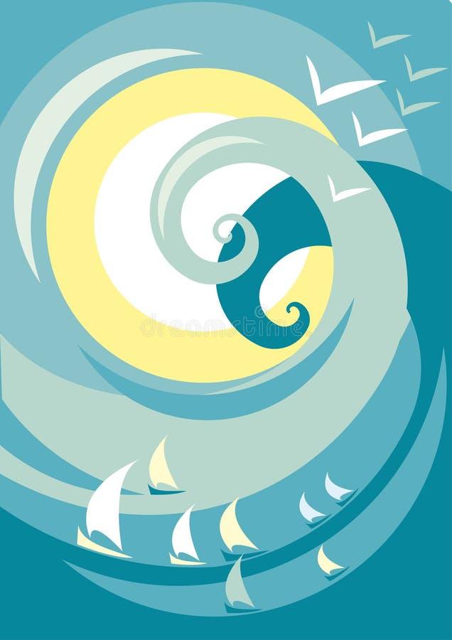 Poster da onda ilustração do vetor