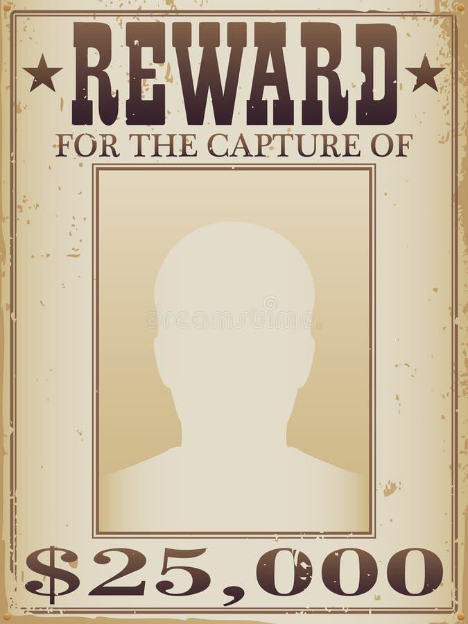 Poster da recompensa ilustração stock