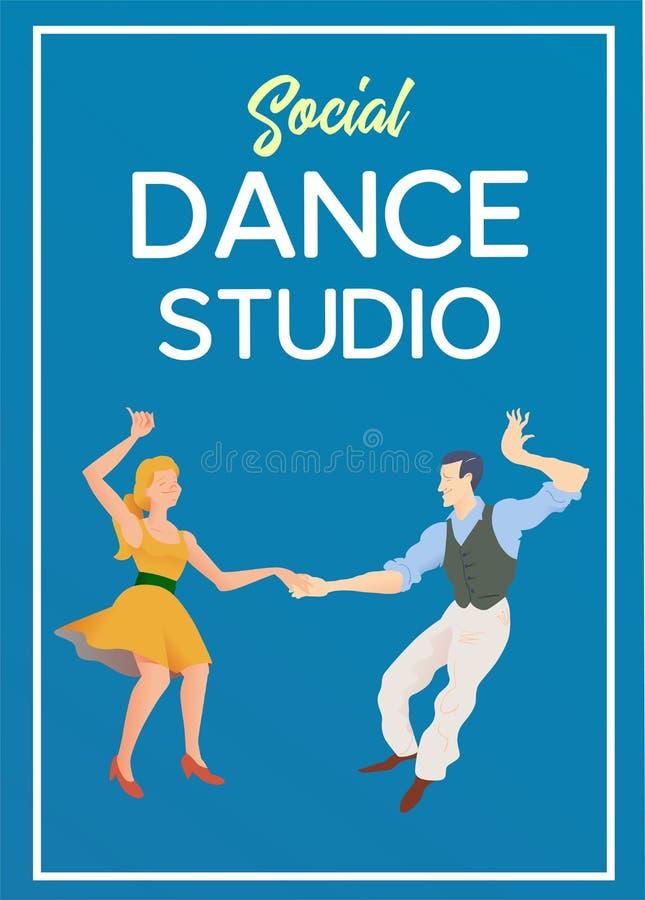 Poster for dance studio. Flyer or element of advertizing for social dances studio. Flat vector illustration. Dance party poster template, event flyer vector illustration