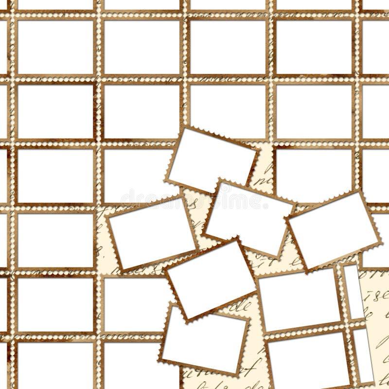 Poster de Grunge com selos de porte postal para o projeto ilustração stock